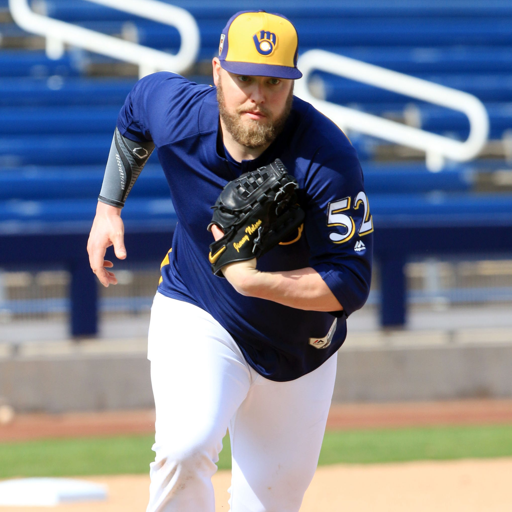 Camp report: Jimmy Nelson throws first official bullpen session of spring training