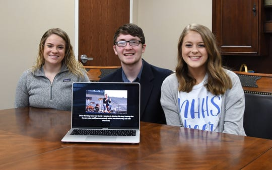 Mountain Home High School EAST students (from left) Courtney Barron, Isaac Helms and Leah Dewey recently shot and edited a video detailing Helms' struggles with marijuana. The video is the first of four that will be produced by EAST students this spring.