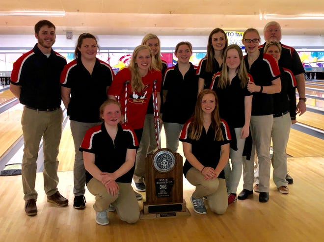 The Norfork Lady Panthers finished second at the 3A/2A/1A State Bowling Tournament held Thursday at Fort Smith. Members of the team are: (first row, from left) Kayley Payne, Micah Dwyer; (second row) assistant coach Landon Booy, Riley Moody, Macy Dillard, Whitlee Layne, Kadence Gunter, Hannah Bradbury, Ashton Beavers, Abby Hamm, and coaches Deanna Klaus and Kevin Bodenhamer.