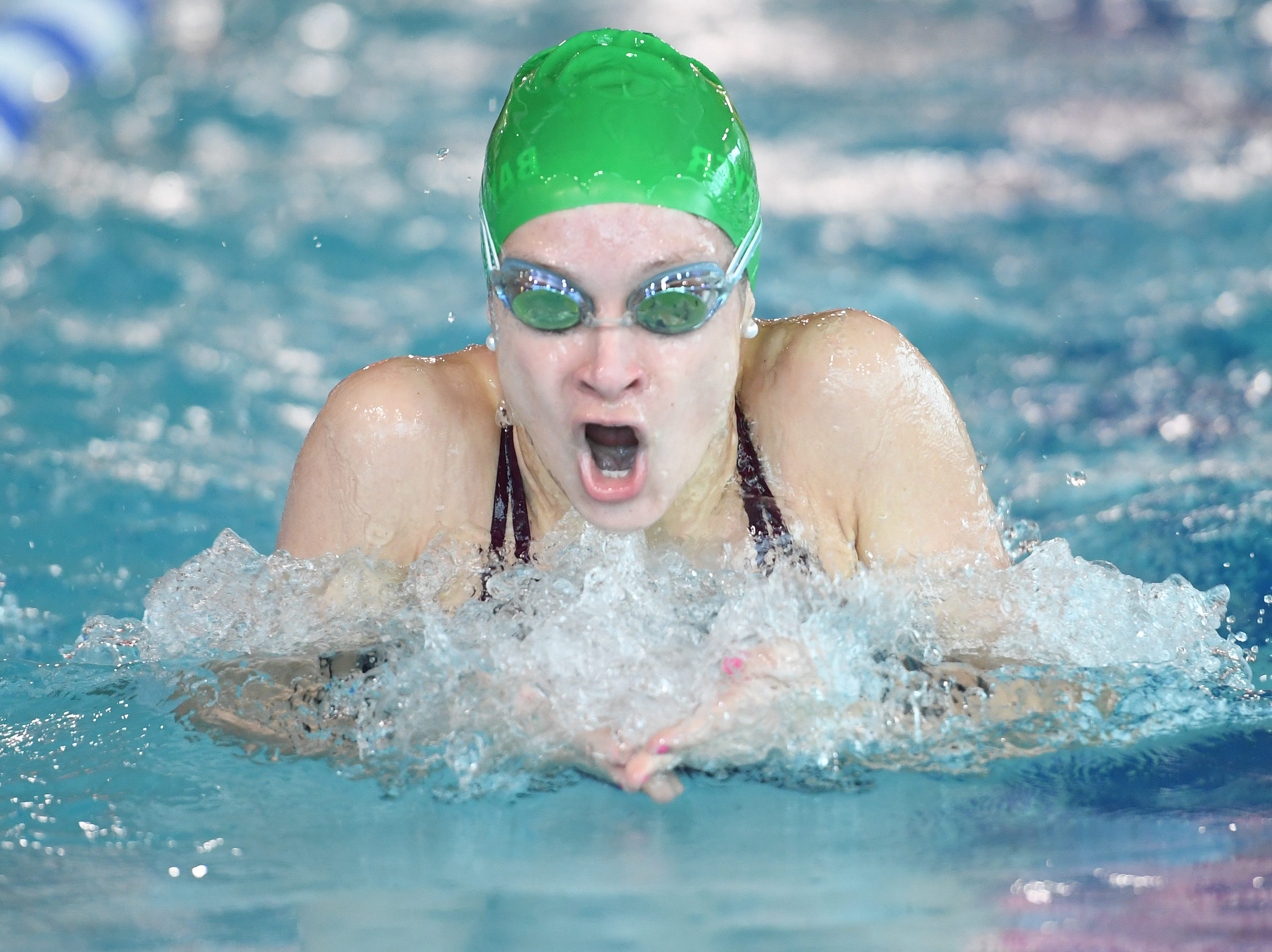 NJSIAA swimming sectional finals: Morristown vs Montclair in North I-A at Passaic County Technical Institute on Friday, February 15, 2019. Nicole Barkemeyer, of Morristown, in the 200 Medley Relay.