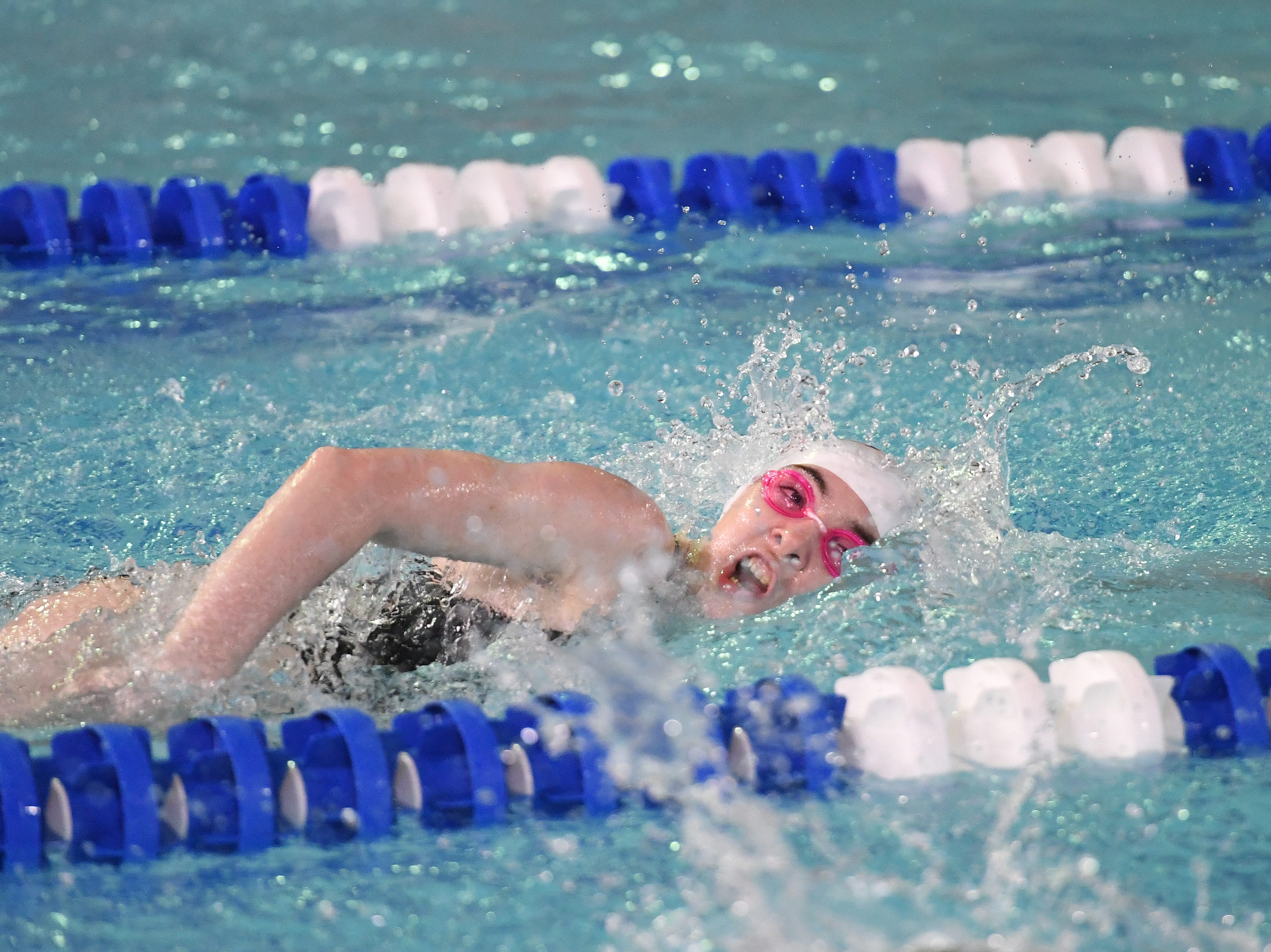 NJSIAA swimming sectional finals: Mountain Lakes vs Kinnelon in North I-C at Passaic County Technical Institute on Friday, February 15, 2019. Emma Devine, of Mountain Lakes, in the 200 Freestyle.