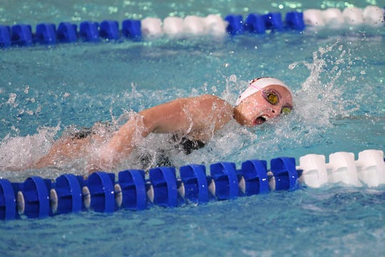 NJSIAA swimming sectional finals: Mountain Lakes vs Kinnelon in North I-C at Passaic County Technical Institute on Friday, February 15, 2019. Cameron Carrazza, of Mountain Lakes, in the 100 Freestyle.