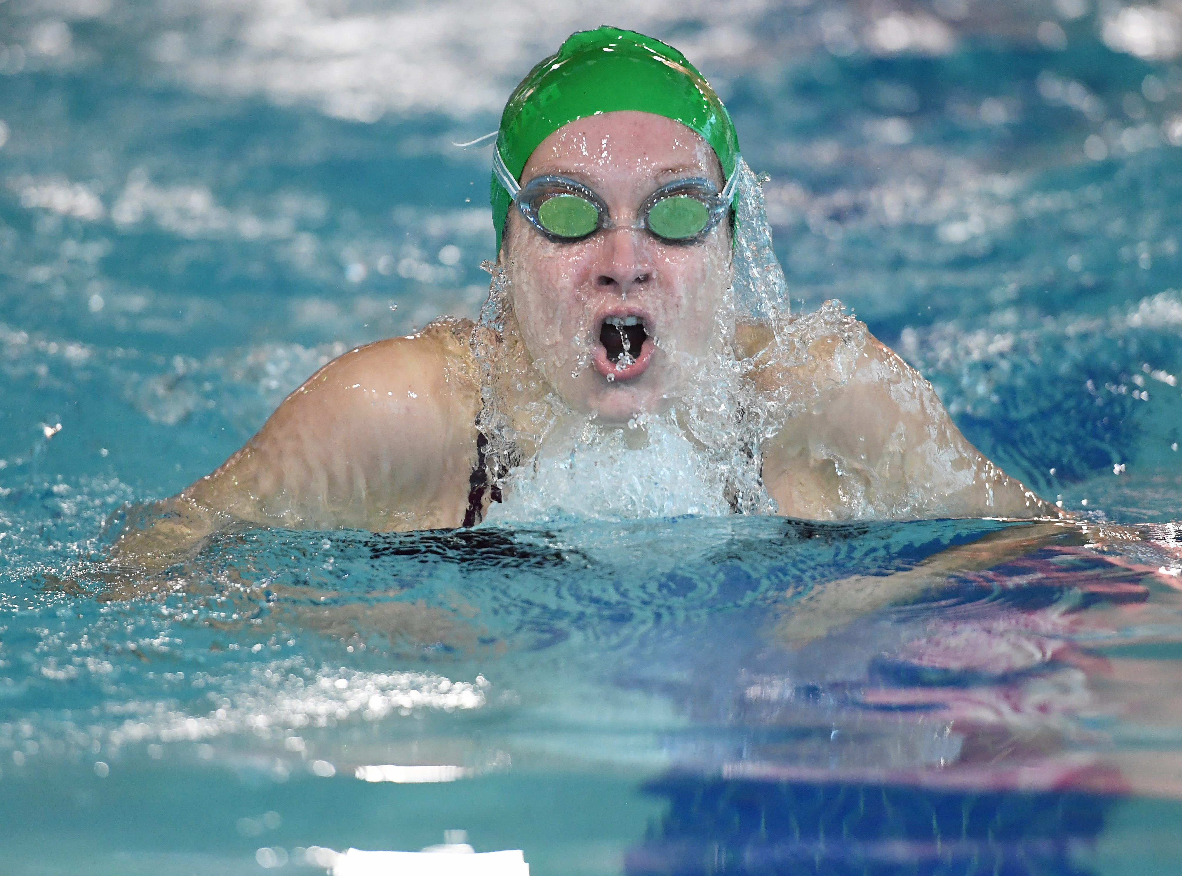 NJSIAA swimming sectional finals: Morristown vs Montclair in North I-A at Passaic County Technical Institute on Friday, February 15, 2019. Nicole Barkemeyer, of Morristown, in the 100 Breaststroke.