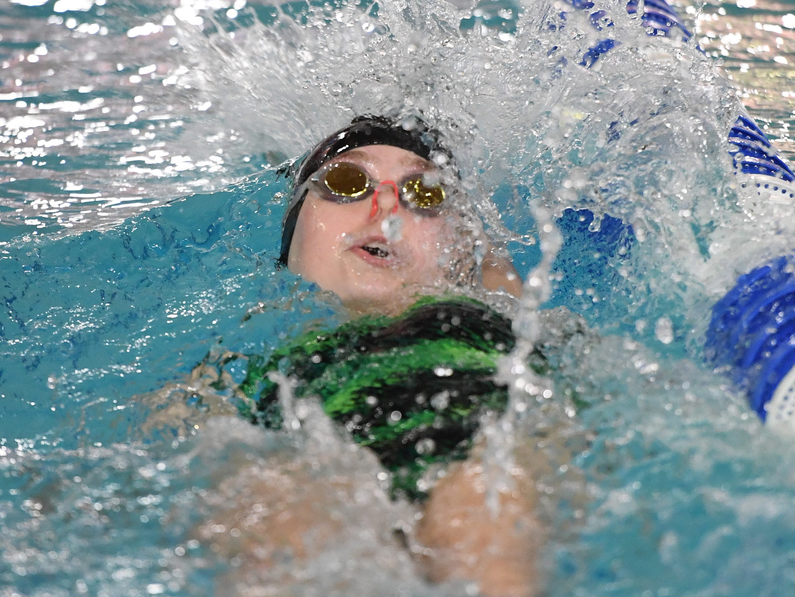 NJSIAA swimming sectional finals: Mountain Lakes vs Kinnelon in North I-C at Passaic County Technical Institute on Friday, February 15, 2019. Jackie Thompson, of Kinnelon, in the 100 Backstroke.
