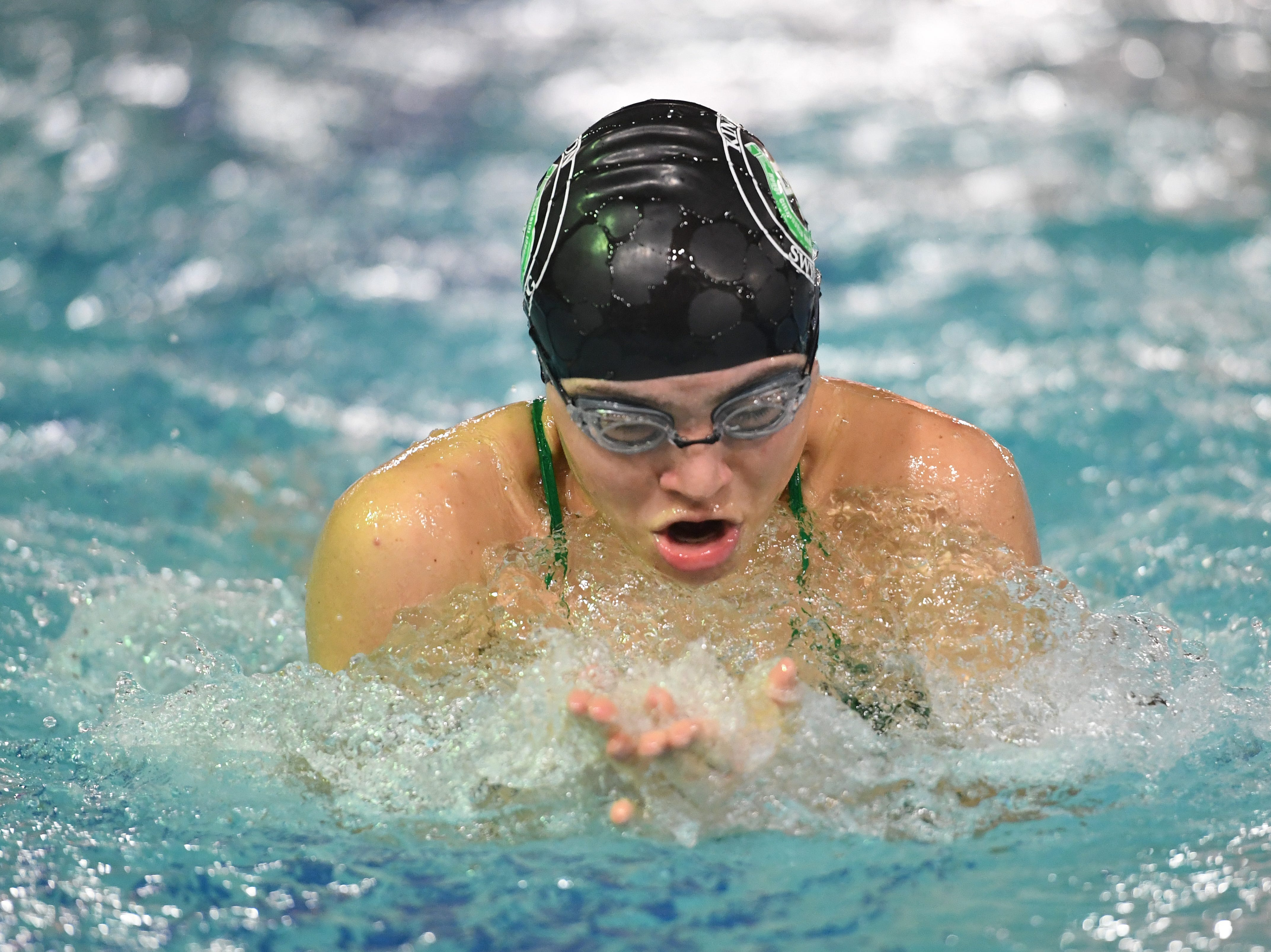 NJSIAA swimming sectional finals: Mountain Lakes vs Kinnelon in North I-C at Passaic County Technical Institute on Friday, February 15, 2019. Sofia Harty, of Kinnelon, in the 100 Breaststroke.