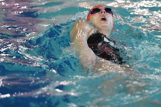 NJSIAA swimming sectional finals: Morristown vs Montclair in North I-A at Passaic County Technical Institute on Friday, February 15, 2019. Molly Webber, of Morristown, in the 100 Backstroke.