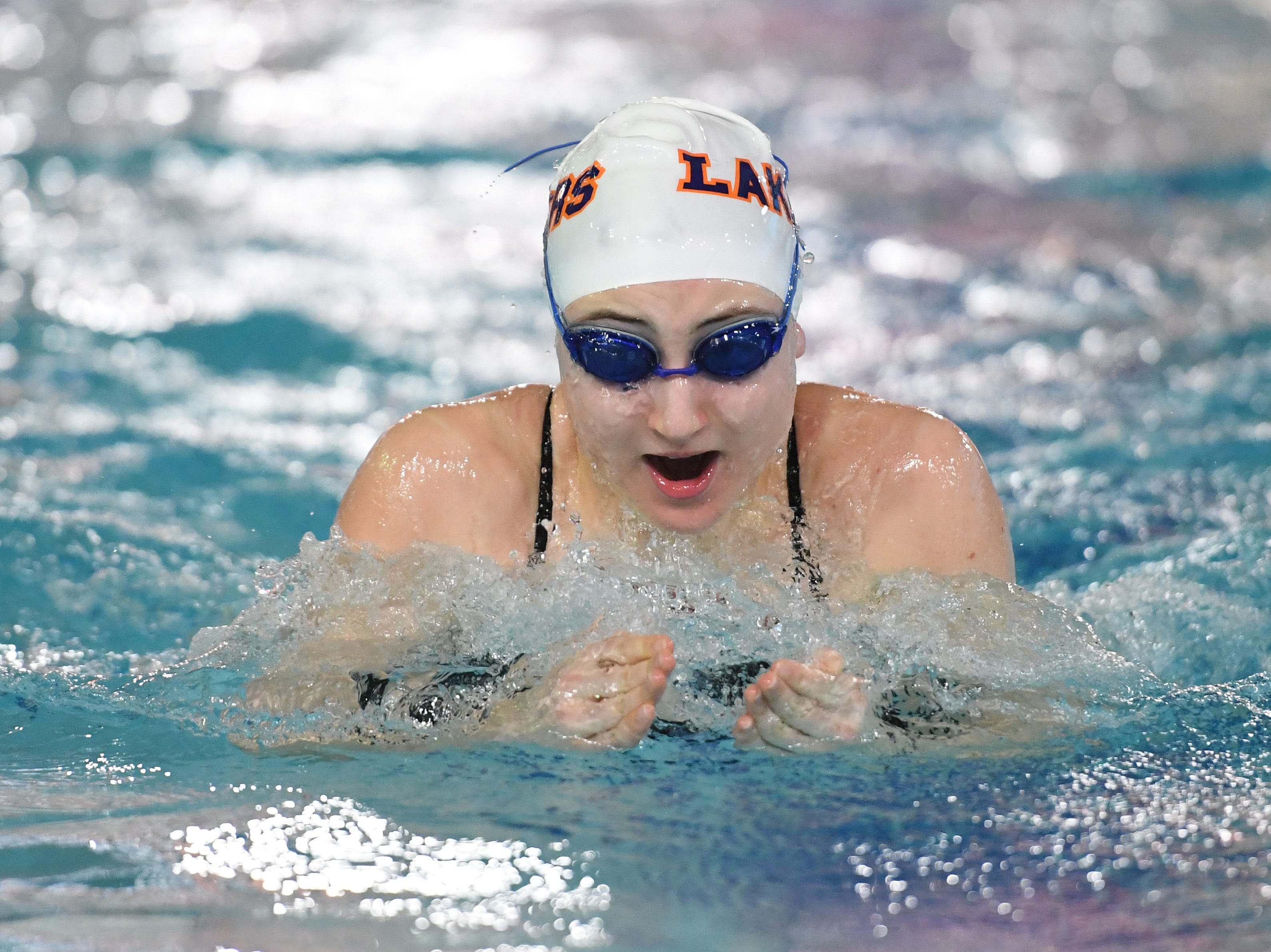 NJSIAA swimming sectional finals: Mountain Lakes vs Kinnelon in North I-C at Passaic County Technical Institute on Friday, February 15, 2019. Kaylee Smith, of Mountain Lakes, in the 200 Medley Relay.