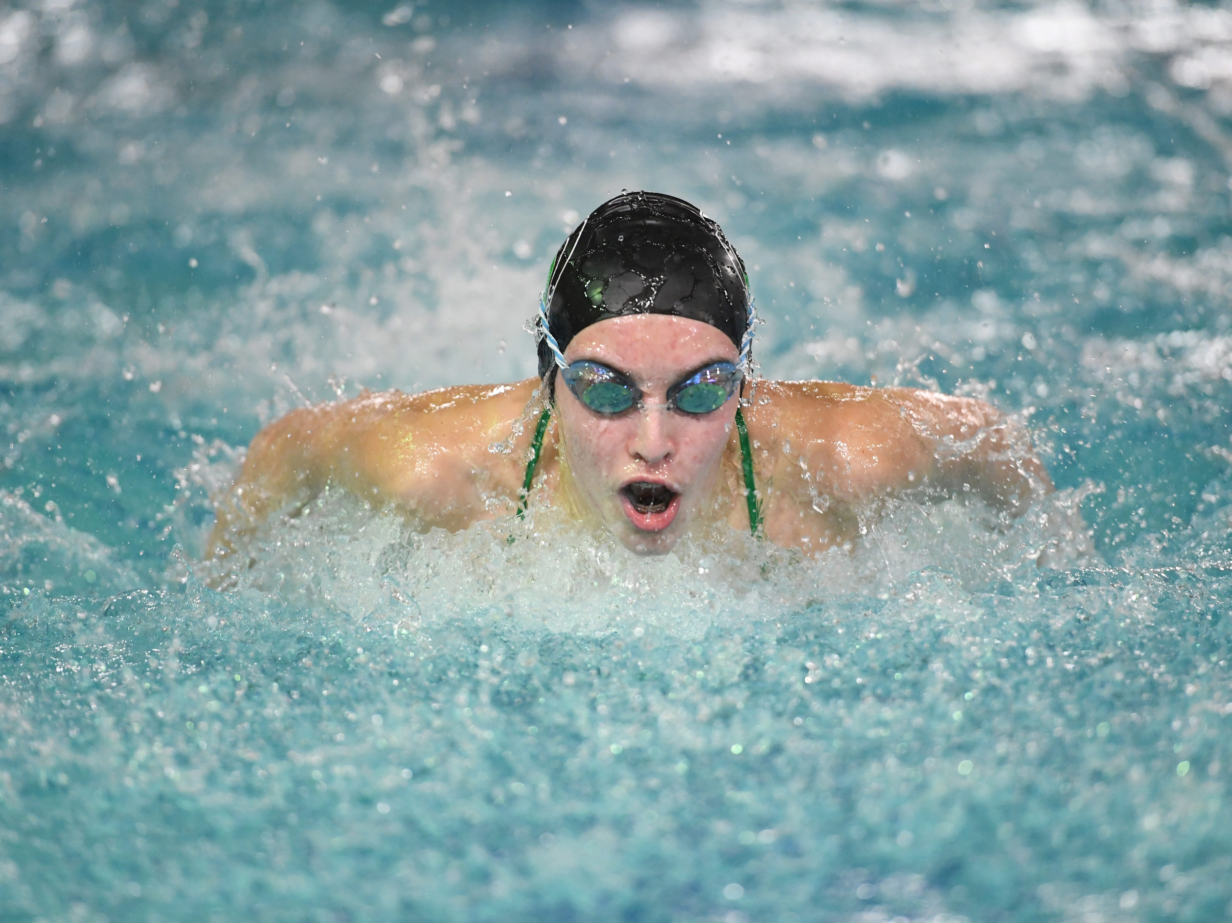 NJSIAA swimming sectional finals: Mountain Lakes vs Kinnelon in North I-C at Passaic County Technical Institute on Friday, February 15, 2019. Kelsey Thompson, of Kinnelon, in the 100 Fly.
