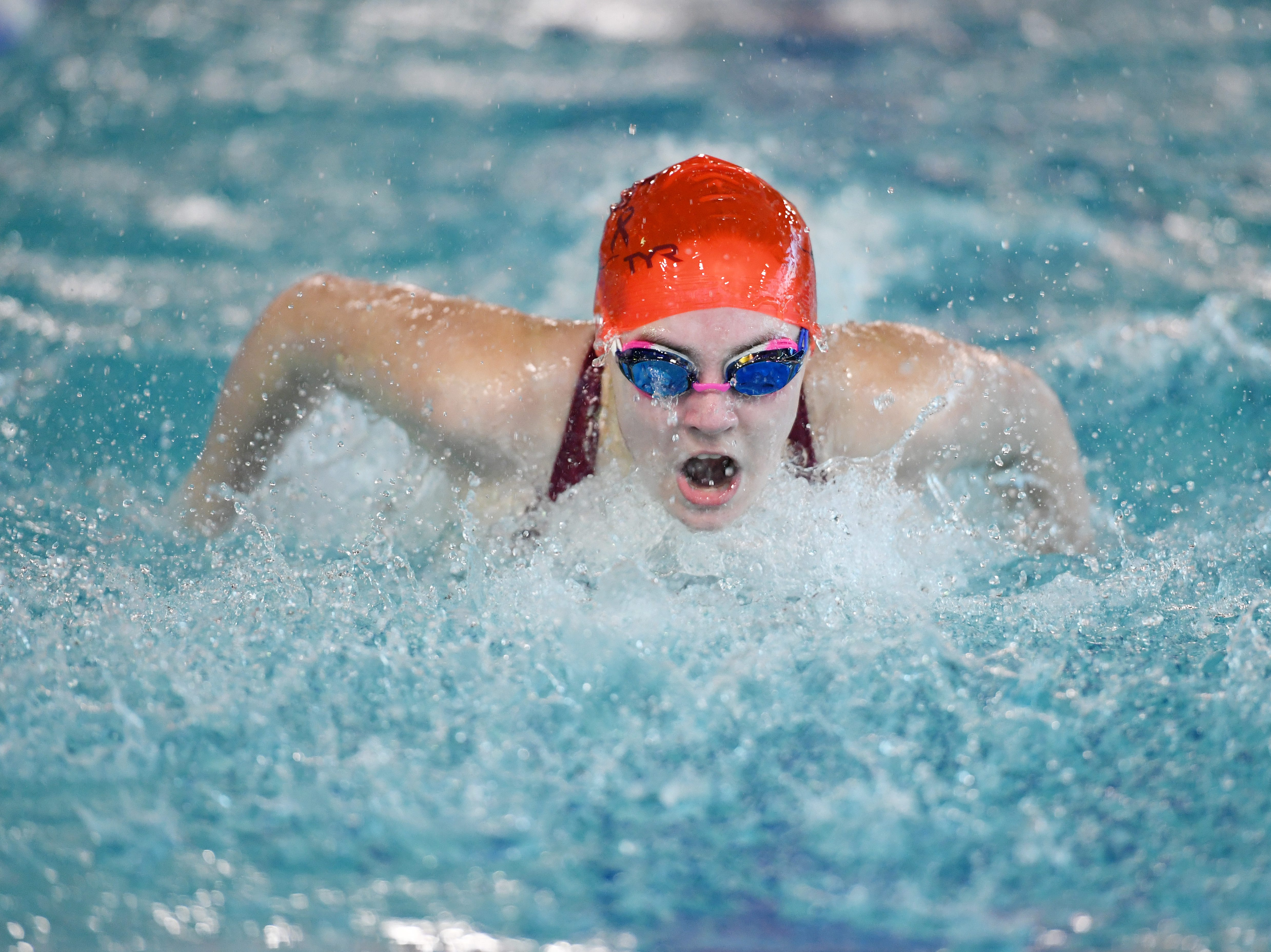 NJSIAA swimming sectional finals: Morristown vs Montclair in North I-A at Passaic County Technical Institute on Friday, February 15, 2019. Molly Webber, of Morristown, in the 100 Fly.