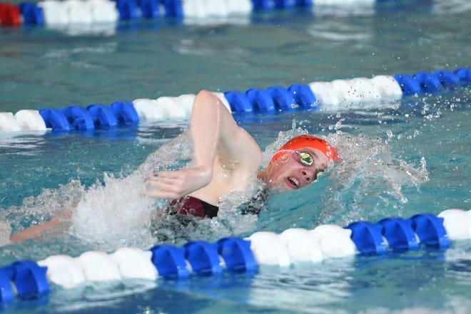 NJSIAA swimming sectional finals: Morristown vs Montclair in North I-A at Passaic County Technical Institute on Friday, February 15, 2019. Grace Miller, of Morristown, in the 200 Freestyle.