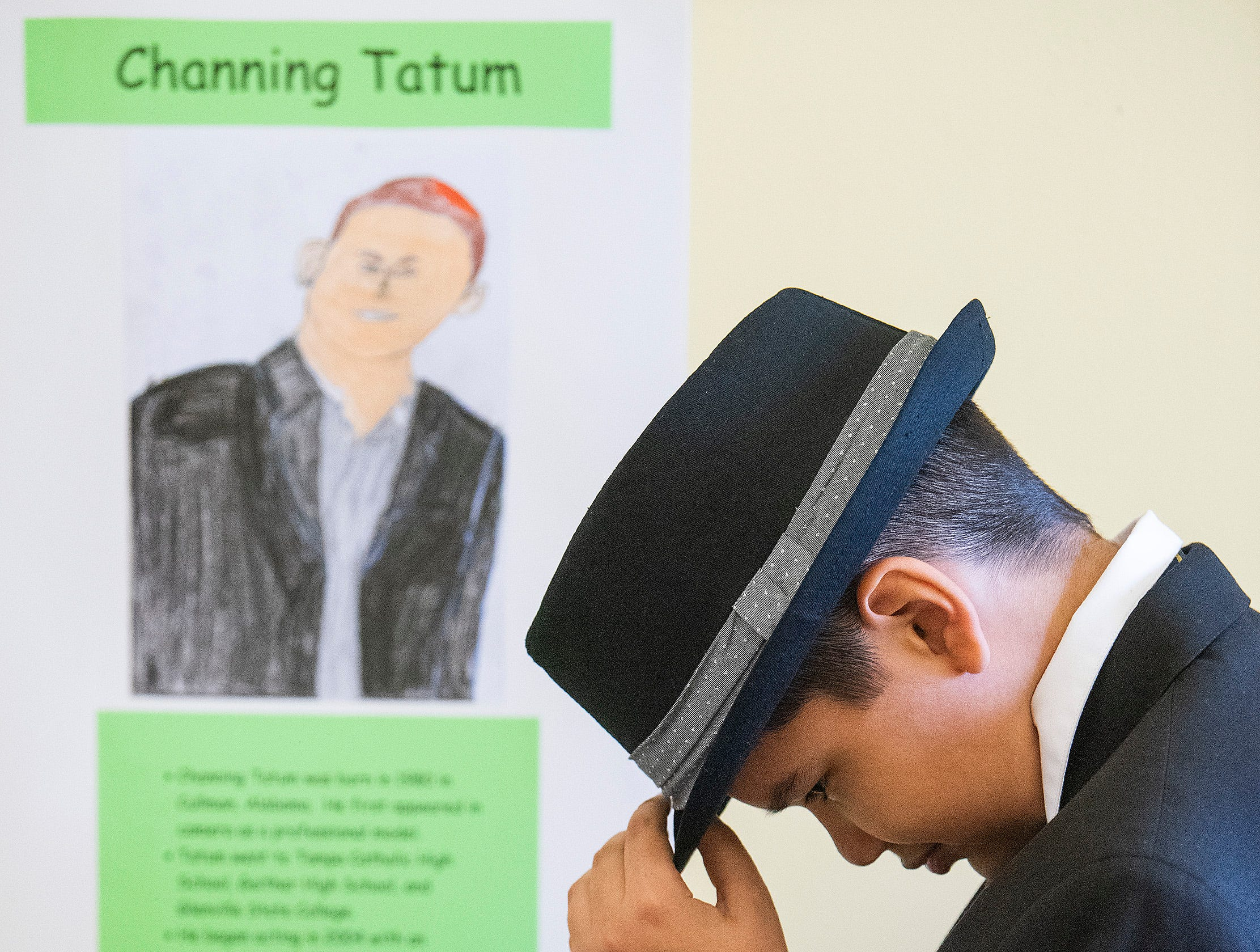 Manuel Jimenez plays Channing Tatum as students portray Alabamians in their Alabama Bicentennial Wax Museum, telling the stories of their characters to visitors, at Holy Cross Episcopal School in Montgomery, Ala., on Friday February 15, 2019.