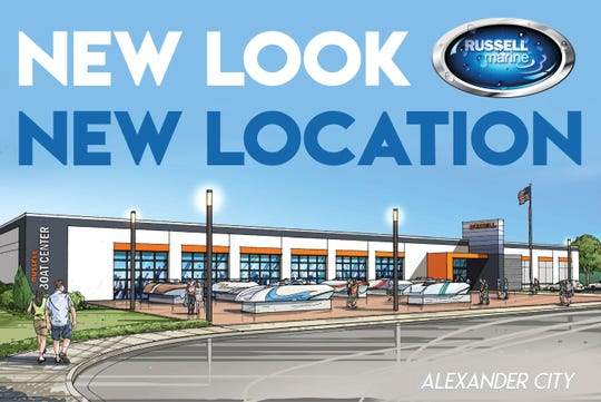 This artist's rendering provided by Russell Marine shows plans for a new retail shop on Lake Martin.