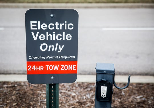 An electric car charging parking space outside of Worthen Arena at Ball State.