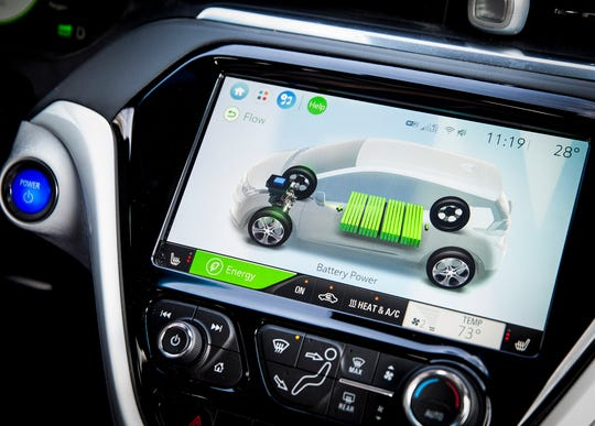 A display indicates how much power remains in Rick Morris' car and where the power is being directed as he drives his Chevy Bolt in Muncie.