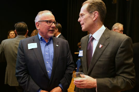 Jeff Lang, United Way of Delaware County's 2018 campaign chairman, and Ball State University President Geoffrey S. Mearns