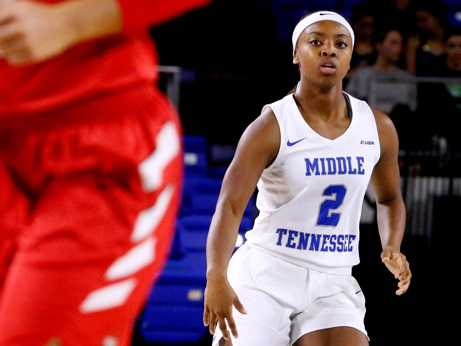 MTSU's guard Taylor Sutton (2) brings the ball down the court during the game against Western on Thursday, Feb. 14, 2019.