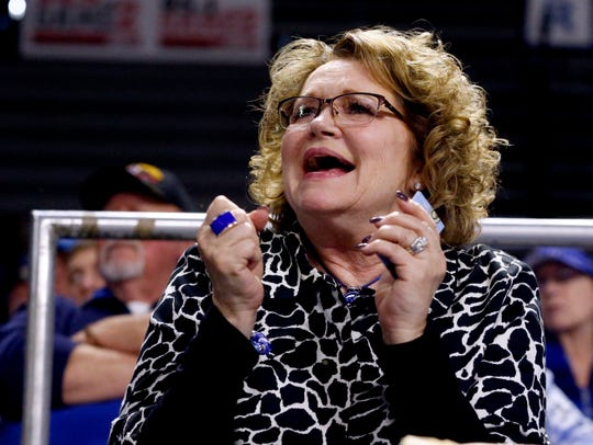 Deb Insell, the wife of MTSU coach Rick Insell, cheers the Lady Raiders on from the stands on Thursday, Feb. 14, 2019, during the game against Western Kentucky.