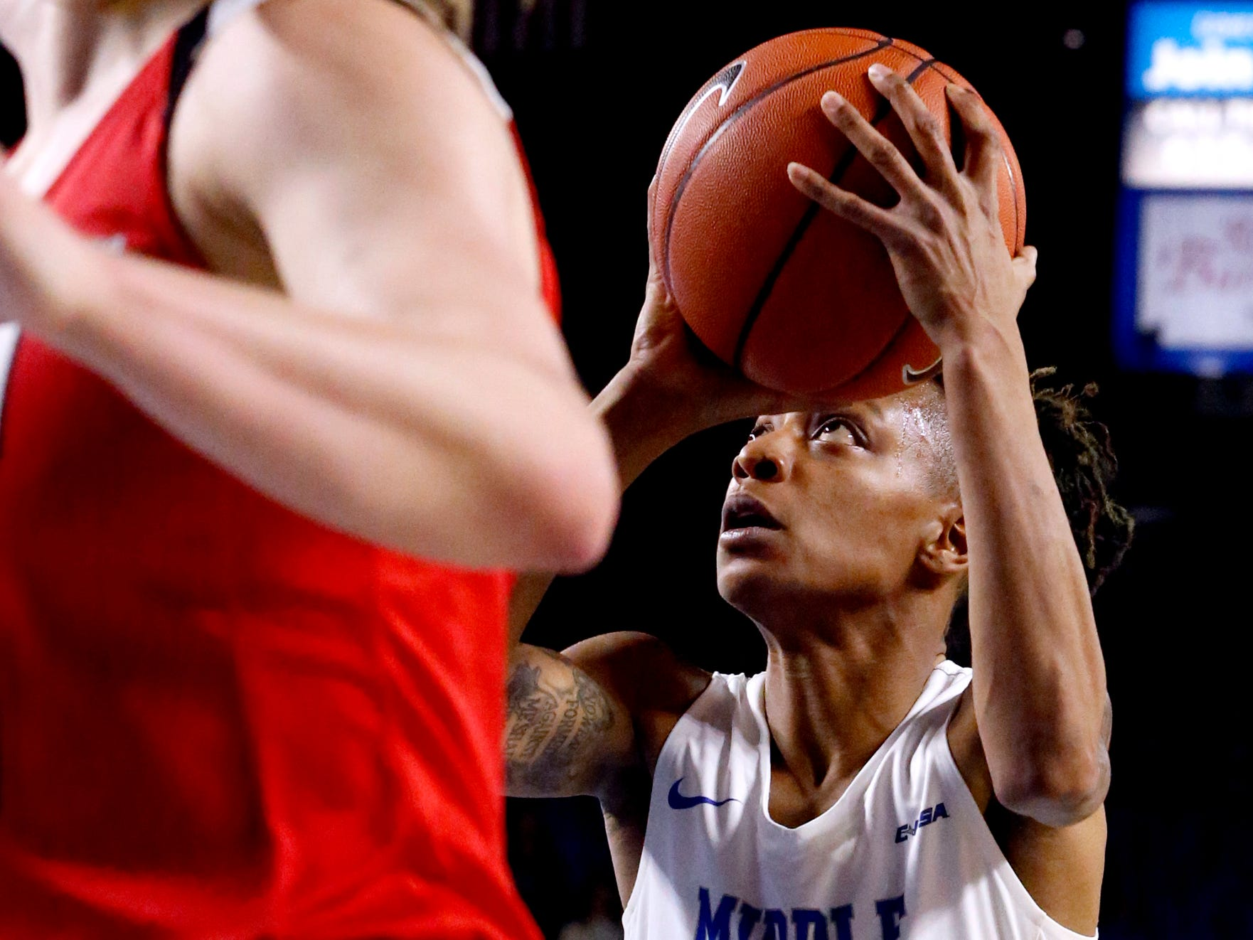 MTSU's guard A'Queen Hayes (1) goes up for a shot during the game against Western on Thursday, Feb. 14, 2019.