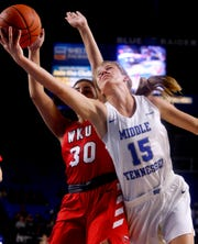 MTSU guard Anna Jones (15) averaged 6.7 points a game last season.