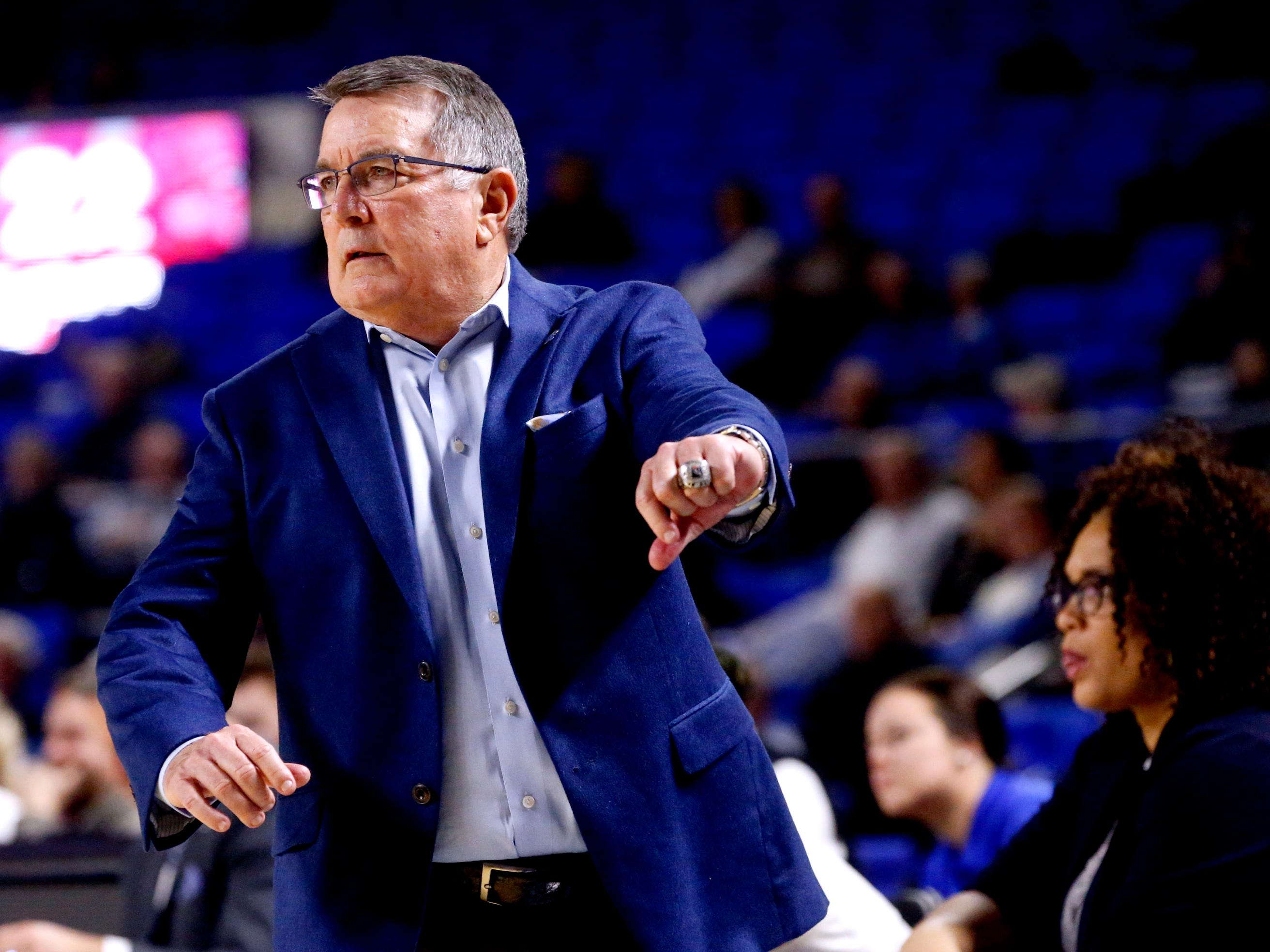 MTSU's head coach Rick Insell  on the sidelines during the game against Western on Thursday, Feb. 14, 2019.