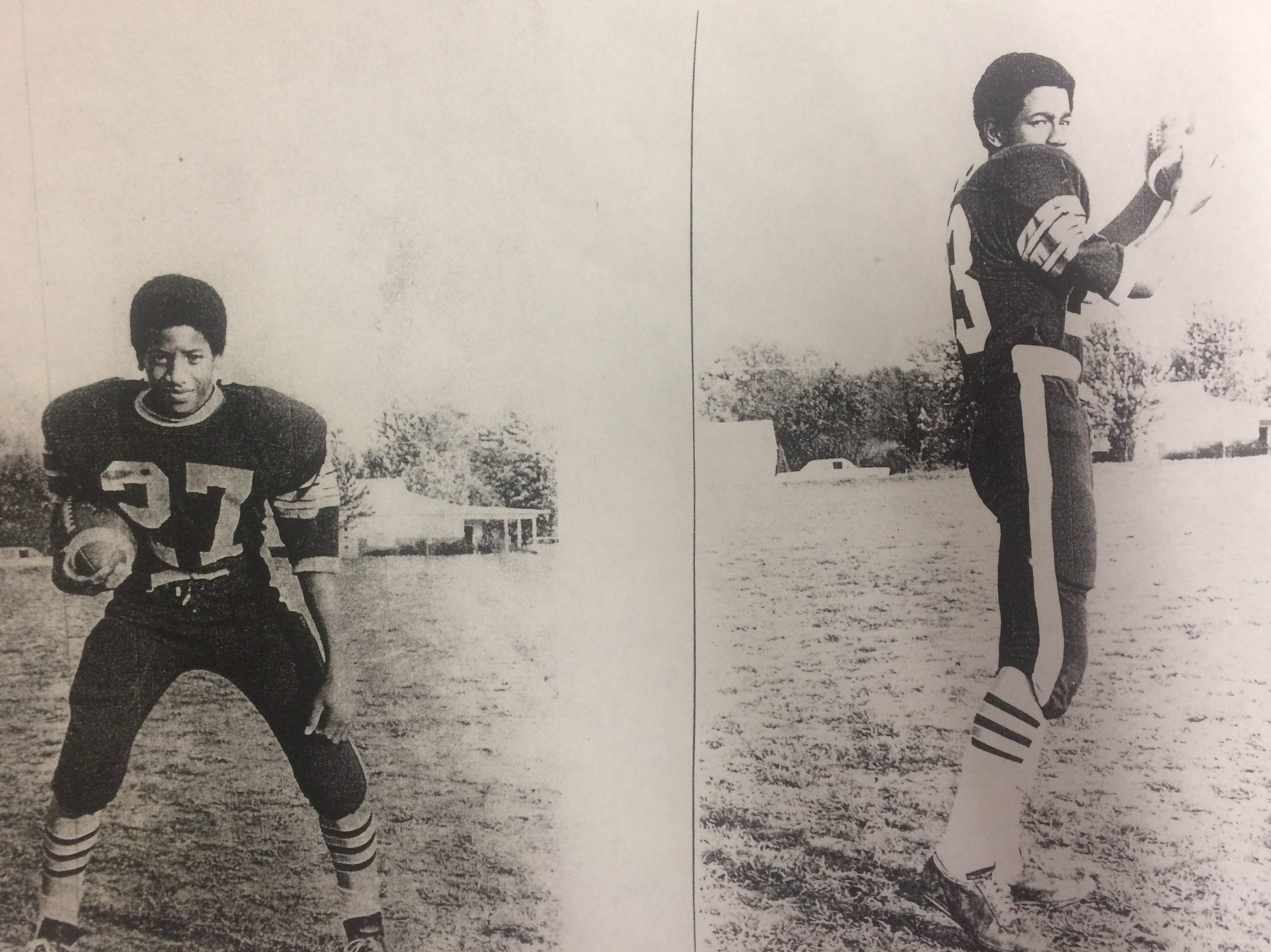 Gary Lauderdale (left) and Dennis Lauderdale, Sr. (right), who are brothers, are pictured in the old Union High School football uniforms before changing over to Gallatin High School in 1970-71.