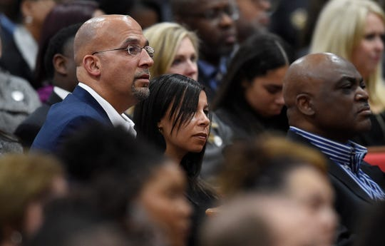 Former Vanderbilt football coach James Franklin, currently Penn State head coach, listens during the funeral for former Vanderbilt athletics director David WIlliams Friday, Feb. 15, 2019, at The Temple Church in Nashville, Tenn.