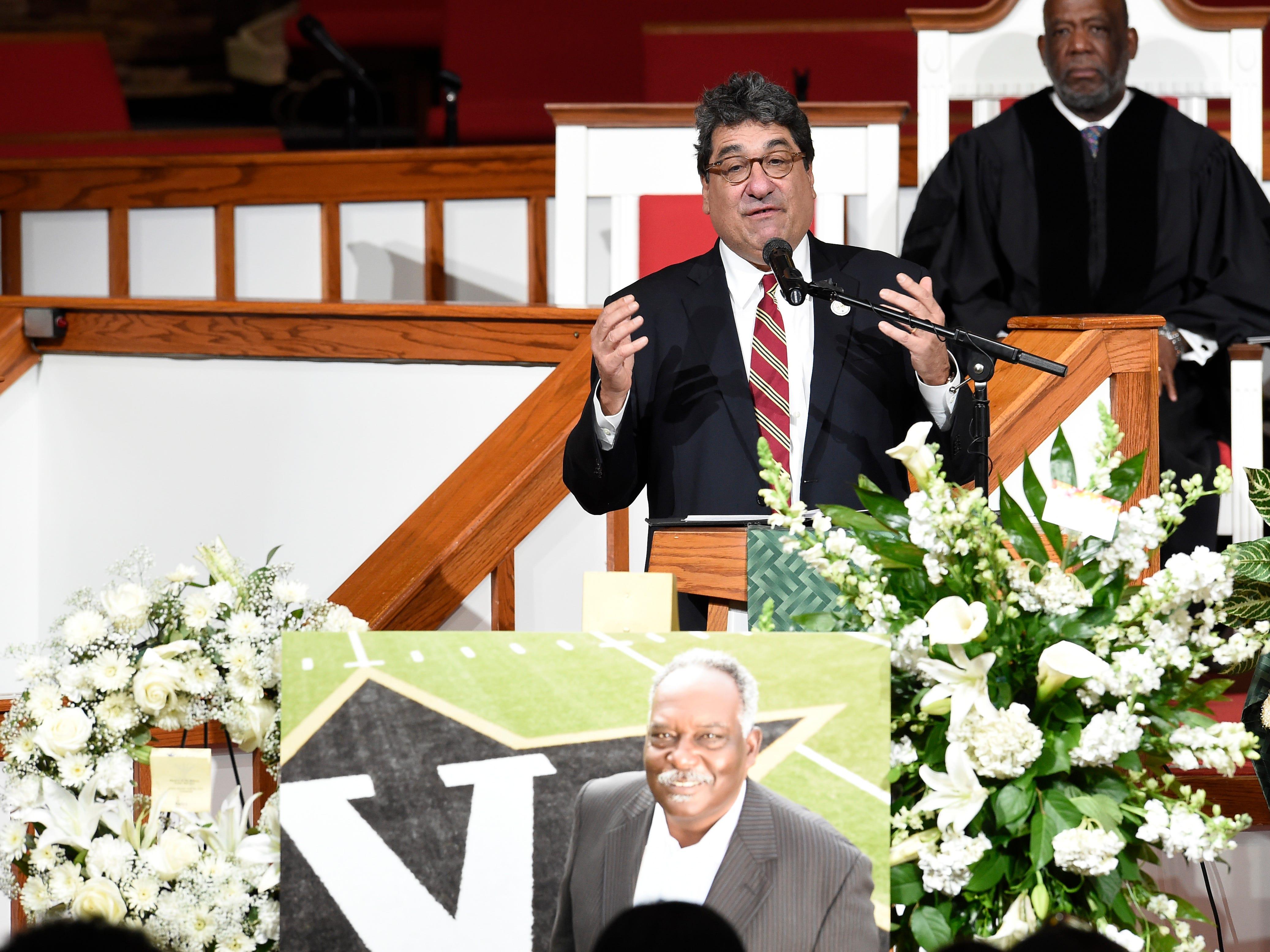 Vanderbilt Chancellor Nicholas Zeppos speaks at the funeral for former Vanderbilt athletics director David WIlliams Friday, Feb. 15, 2019, at The Temple Church in Nashville, Tenn.