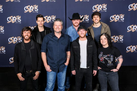 From left: Chris Janson, Devin Dawson, Blake Shelton, Cody Johnson, Morgan Evans and Ashley McBryde.