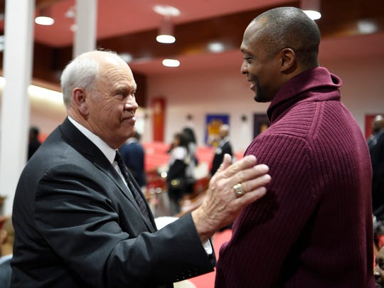 University of Tennessee Athletics Director Phillip Fulmer and former Titans running back Eddie George chat during visitation before the funeral for former Vanderbilt athletics director David Williams Friday, Feb. 15, 2019, at The Temple Church in Nashville, Tenn.