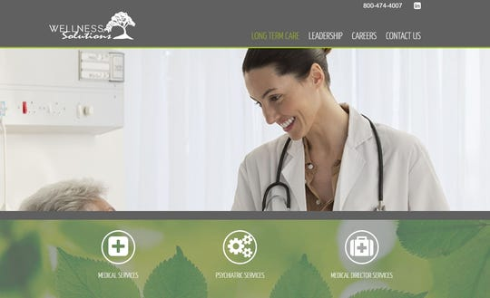 A screenshot of the website of Wellness Solutions Geriatrics, a Nashville company that is being investigated for Medicare fraud and hasn't paid employees in two months.
