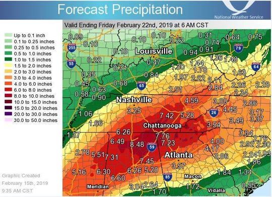 Several rounds of rainfall are expected to move through southern Middle Tennessee and northern Alabama beginning late Monday. The width of the storm may include even as far north as Rutherford or southern Davidson counties.
