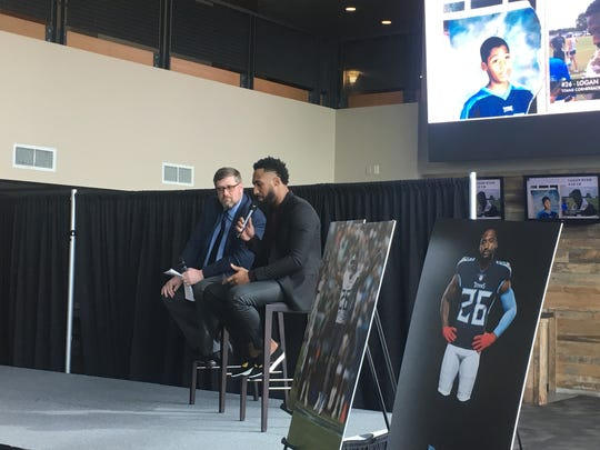 Tennessee Titans cornerback Logan Ryan answers crowd questions during an event as part of the Nissan Resume Challenge with 100 Black Men of America at Nashville's Nissan Stadium.