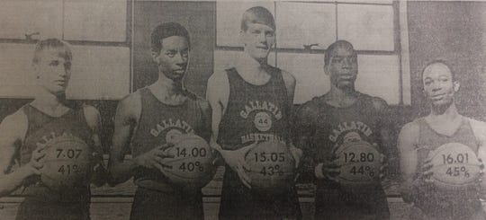 Gallatin High School's 1970-71 starting five basketball players, with pre-game averages and shooting percentages, from left: Joey Graves, David Black, Alton Roark, Mitch Crenshaw and Robert Rice