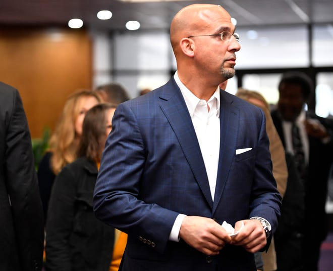 Former Vanderbilt football coach James Franklin, now coach at Penn State, attends visitation before the funeral for former Vanderbilt athletics director David Williams in February.