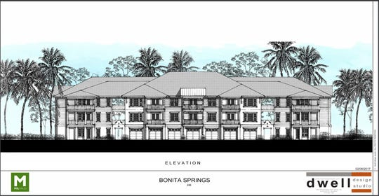 A rendering of an apartment building in Versol, a Bonita Springs development under construction along Bonita Crossings Boulevard.