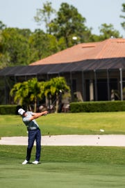 Steve Stricker takes a shot from the fairway during the first round of the Chubb Classic in The Classics at Lely Resort on Friday. Stricker shot 4 under and is tied for 11th.