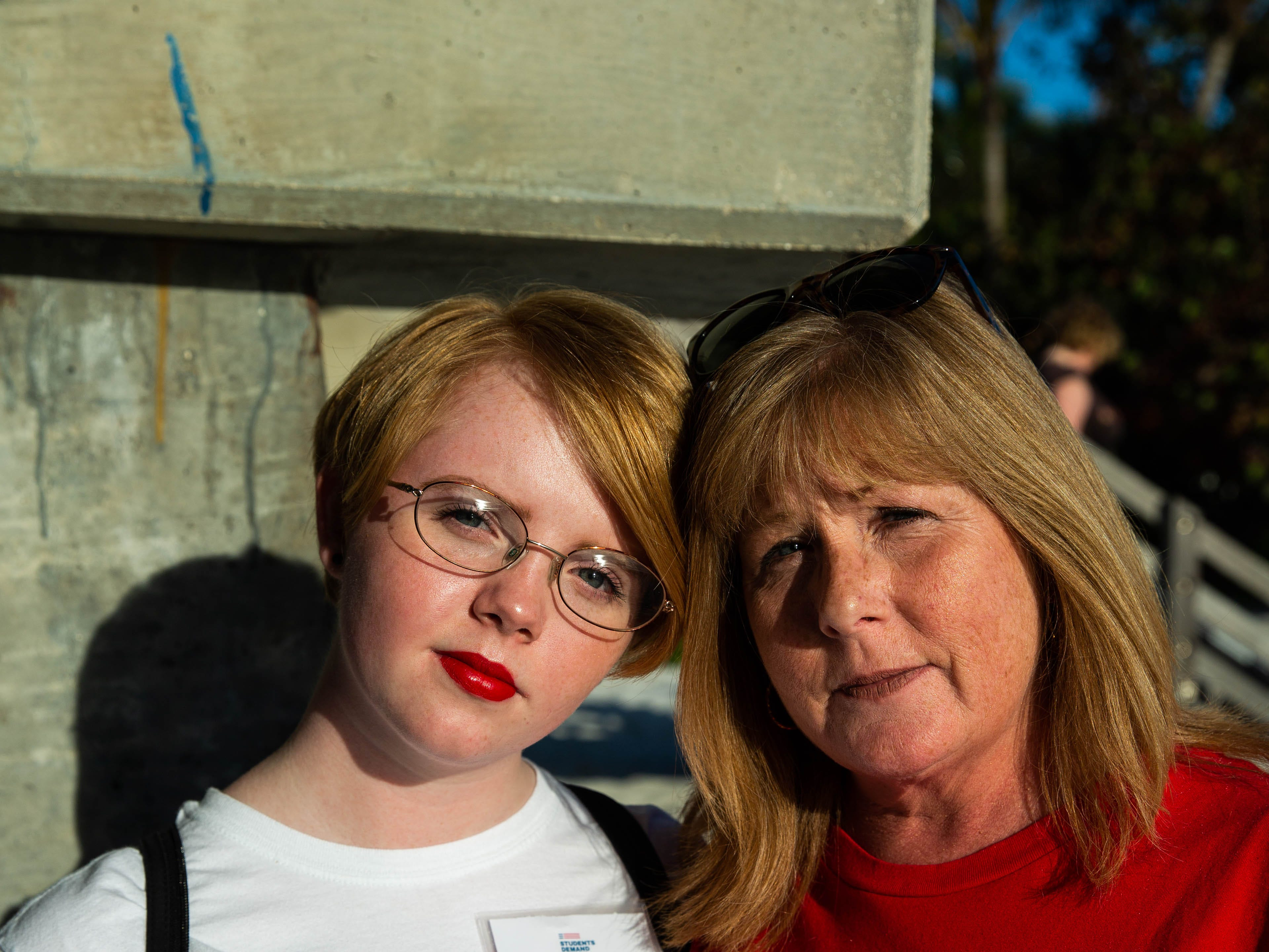 "Michaela and Kathy O'Brien together at the vigil Michaela organized in remembrance of lives lost in Parkland one year ago. ""Parkland felt different,"" Michaela said. ""As a student, I feel it is my job to stand up, even though I don't know anyone who has been shot."" Michaela said she was inspired by Parkland activists and her mother is inspired by Michaela's dedication to her advocacy."