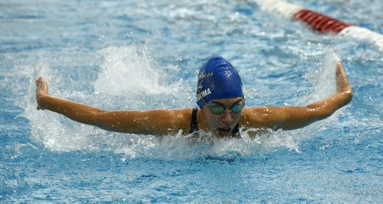 Chillicothe sophomore Danielle Fleurima swims the 100 butterfly during the Division II district swimming championship on Thursday, Feb. 14, 2019 at Ohio State University's McCorkle Aquatic Pavilion.