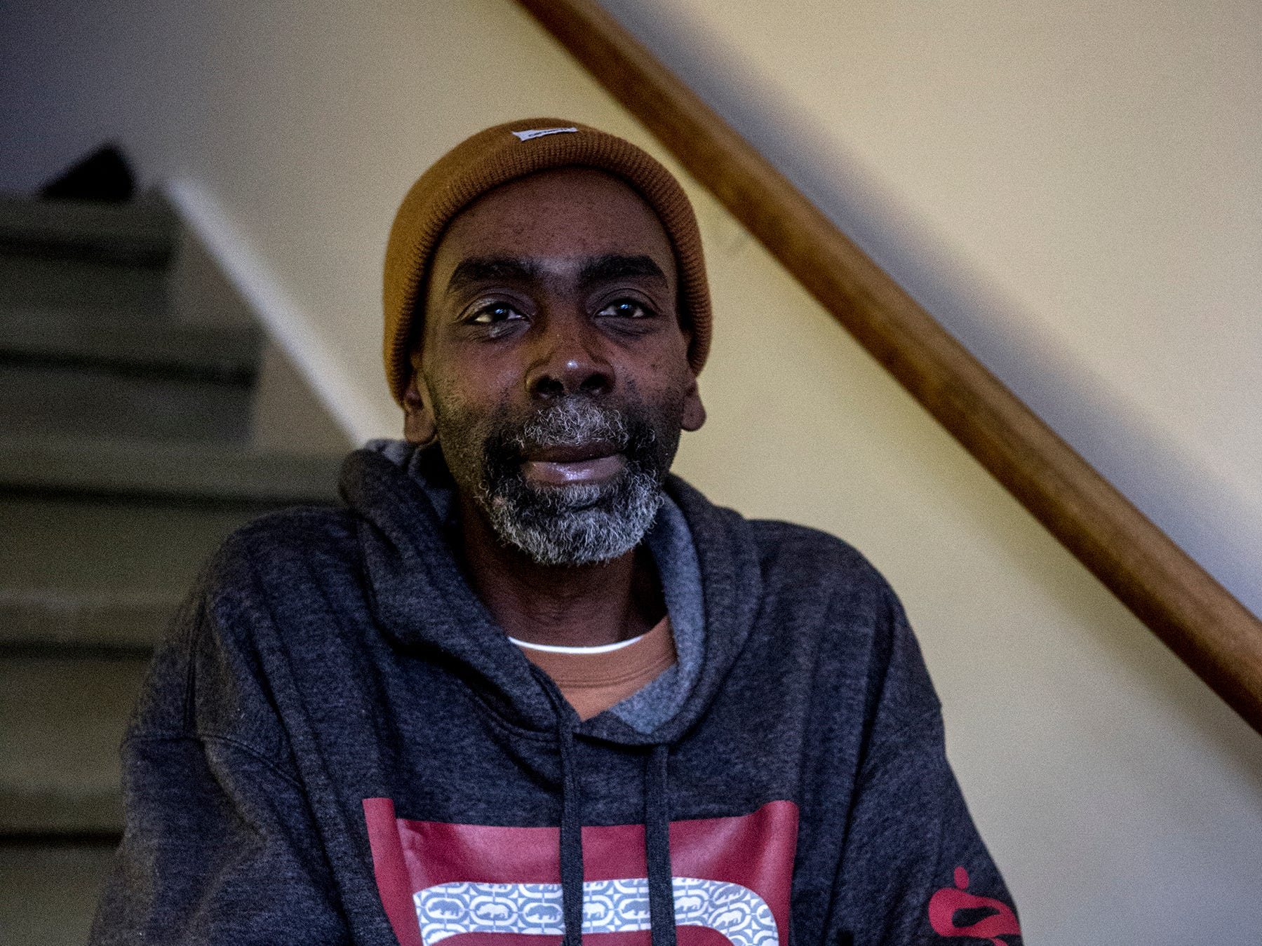 Mike Smith said he has been homeless for years. He is a graduate of Newark high School.  He sought shelter at Central Christian Church at the end of January when temperatures dropped below zero.