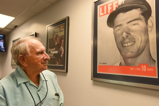 Tom Giordano, in the media area at Yankee Stadium in July 2018, died Thursday, Feb. 14, 2019 at age 93.