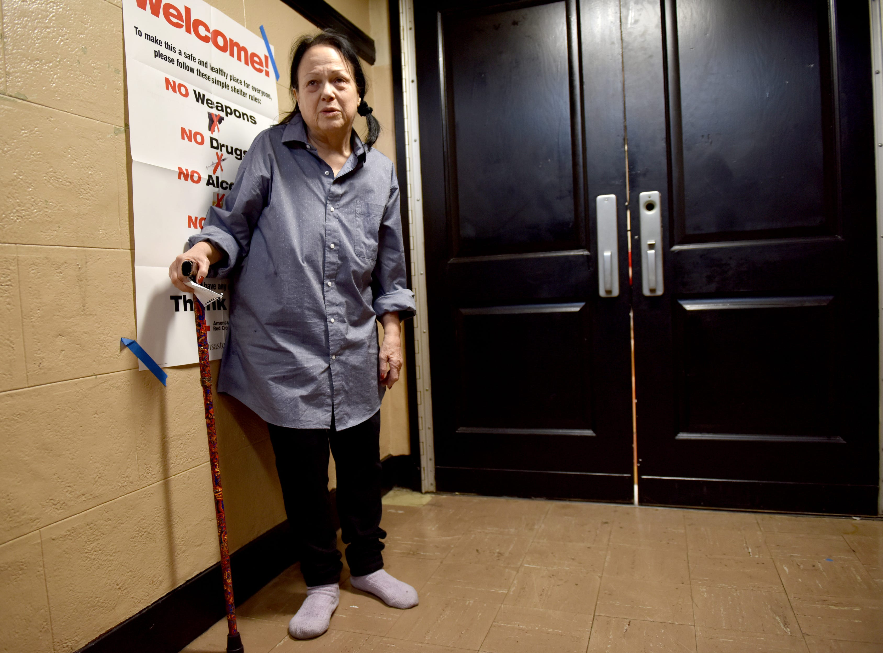 Cindy Zweibel is staying at a Red Cross shelter, which was set up at the Fort Lee High School gymnasium for residents that were displaced from the fire, which broke out at an apartment complex on Edwin Ave in Fort Lee. Zweibel is wearing donated clothes that were provided to the residents.