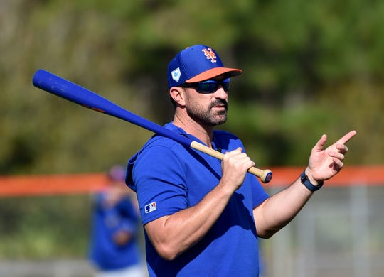 New York Mets manager Mickey Callaway (36) during spring training at First Data Field.