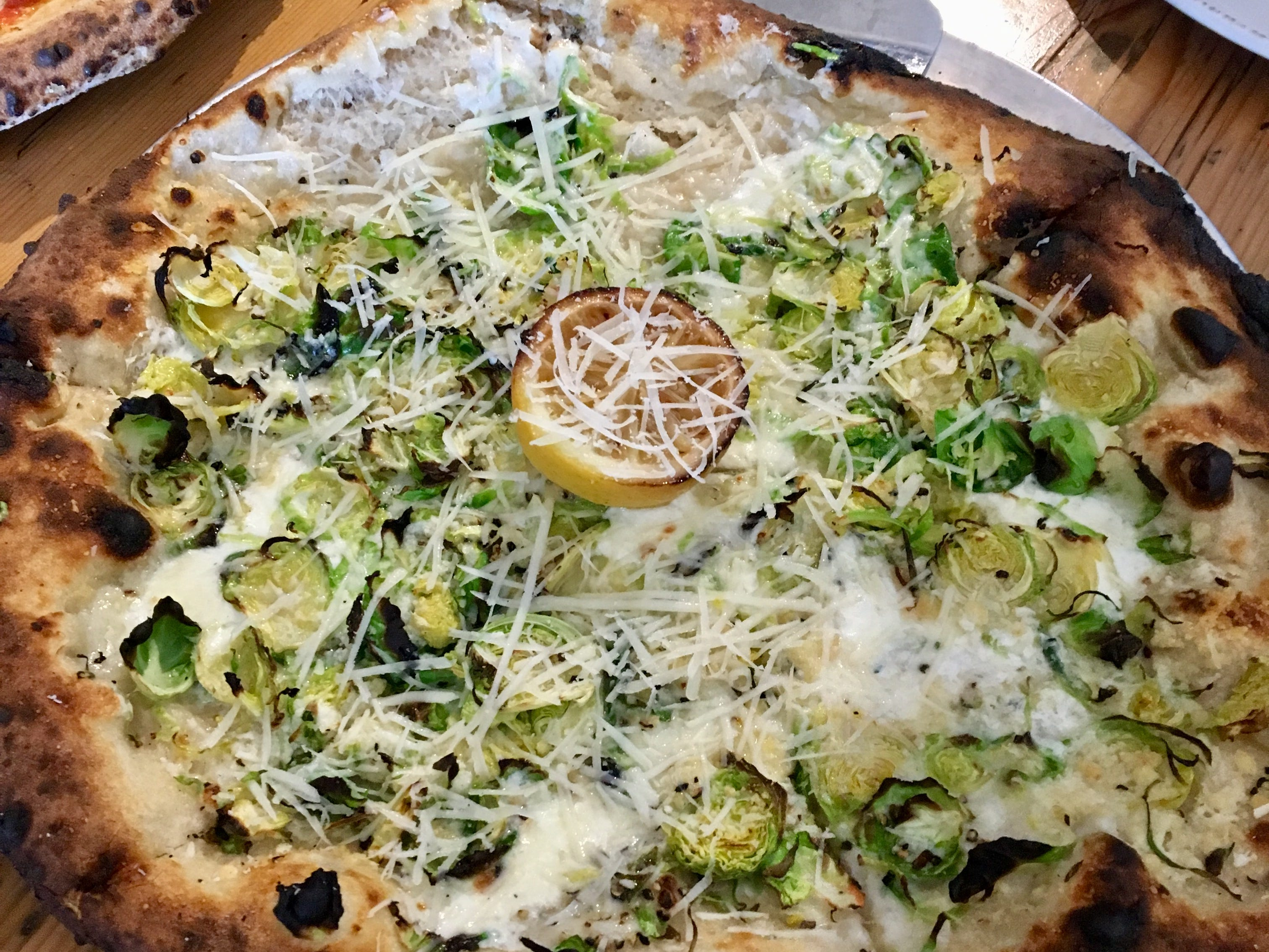 Brussels sprouts pizza special at Wood Stack Pizza + Kitchen in Pine Brook.