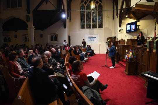 A vigil at Emmanuel Baptist Church in Ridgewood on Thursday, February 14, for the high school students and teachers who were killed in a school shooting at Marjory Stoneman Douglas high school in Parkland, Florida last year.