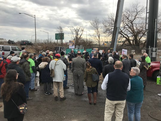 Protesters gathered in Ridgefield Park on Feb. 15, 2019 to urge Gov. Phil Murphy to reject a proposed, gas-fired power plant in the Meadowlands.