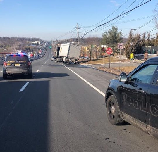 A truck pulled over to the side of the route got caught up in wires on Route 17 in Ramsey Feb. 15, 2019.