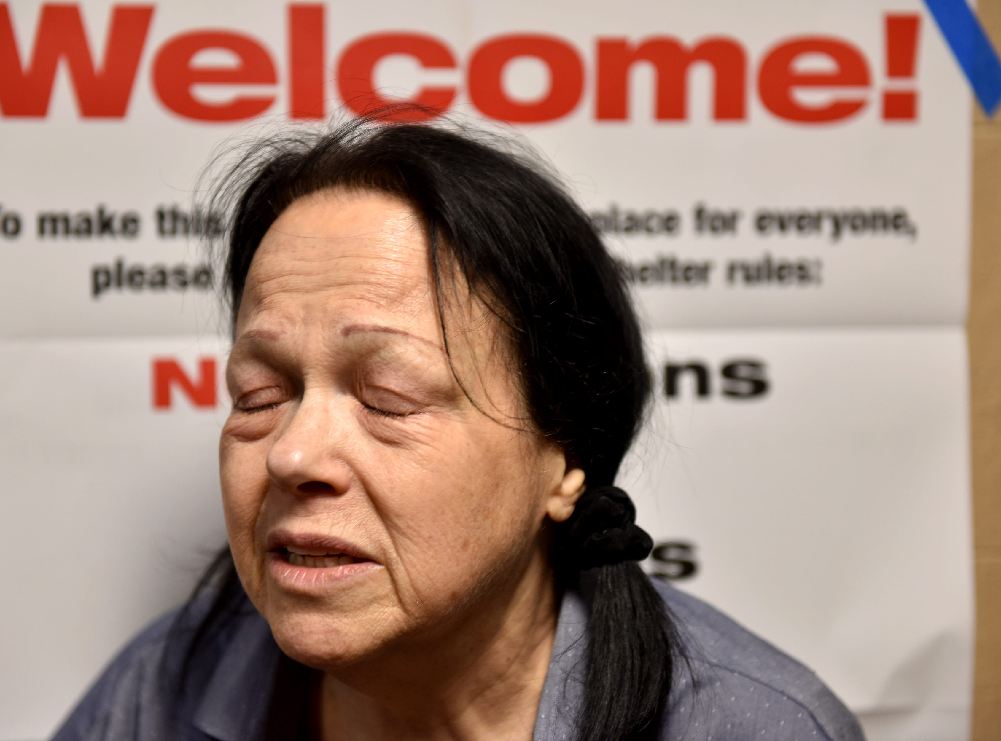 Cindy Zweibel is staying at a Red Cross shelter, which was set up at the Fort Lee High School gymnasium for residents that were displaced from the fire, which broke out at an apartment complex on Edwin Ave in Fort Lee.