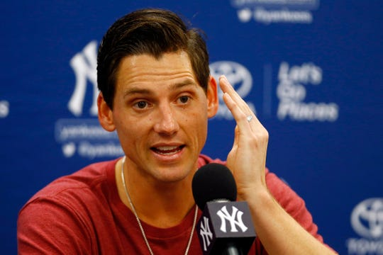 Feb 15, 2019; Tampa, FL, USA; New York Yankees pitcher Danny Farquhar (36) speaks to the media during spring training at George M. Steinbrenner Field.