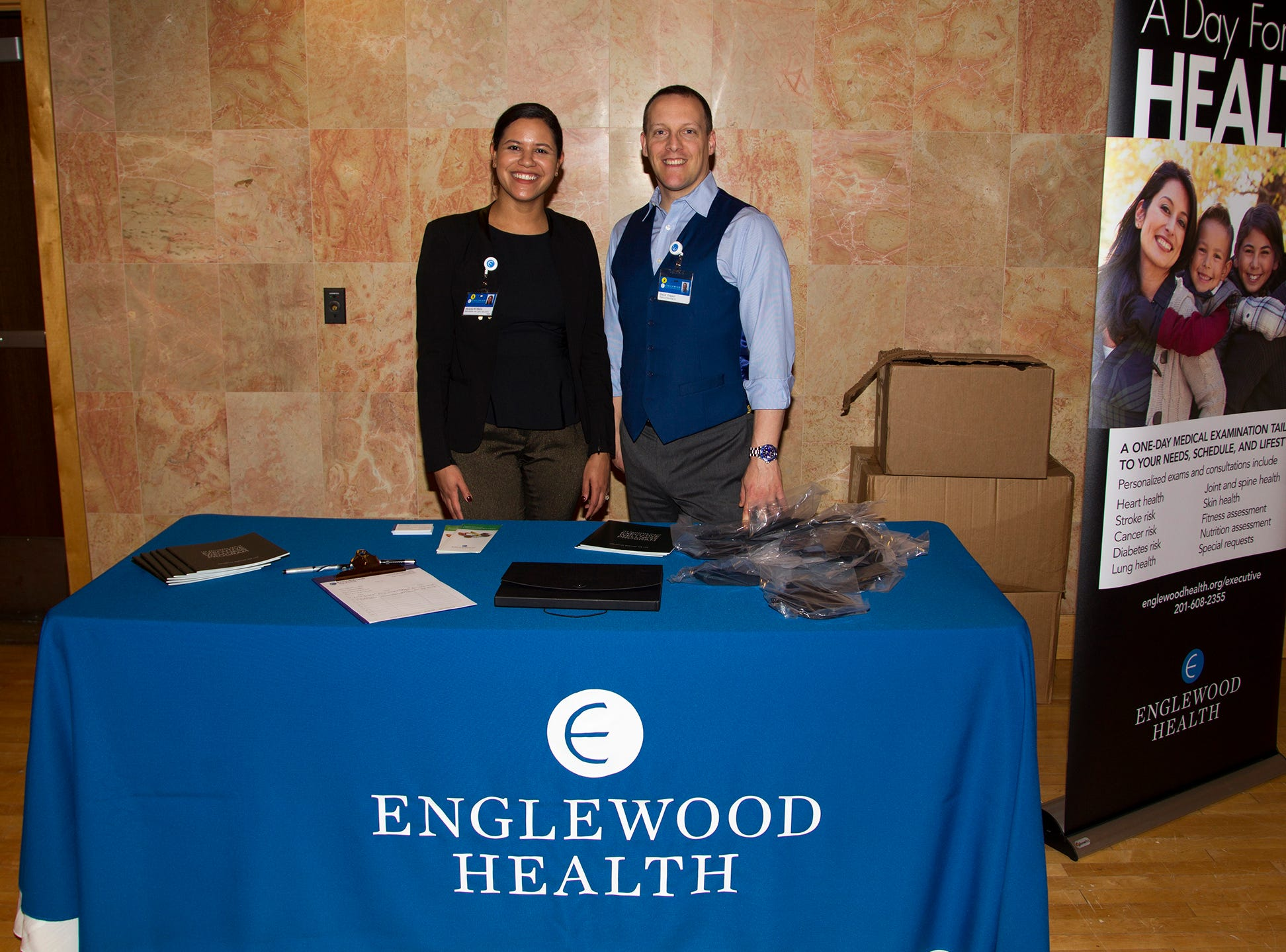 Myladys Marte, David Drapkin. Englewood Health and Kaplen JCC on the Palisades sponsored a Mind, Body, & Sole - a women's health & fitness social night at Kaplen JCC on the Palisades in Tenafly.02/13/2019