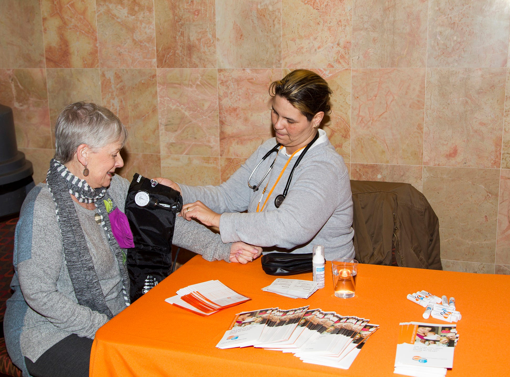 Linda Smith, Oriana Restrepo RN. Englewood Health and Kaplen JCC on the Palisades sponsored a Mind, Body, & Sole - a women's health & fitness social night at Kaplen JCC on the Palisades in Tenafly.02/13/2019